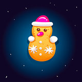 Cute gingerbread cookies for christmas in the form of a snowman. Night sky background. Vector illustration.