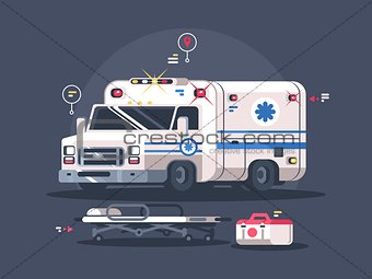 Ambulance car with flasher