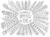 Vector Happy New Year Floral Greeting