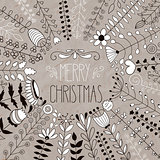 Vector Merry Christmas Floral Greeting