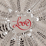 Vector Floral Wreath and Love Lettering