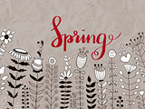 Vector Floral Pattern with Spring  Lettering