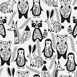 Vector Seamless Pattern with  Animals and Spring Branches