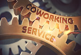 Coworking Service on Golden Metallic Gears. 3D.