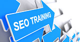 SEO Training - Inscription on the Blue Arrow. 3D.