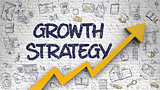 Growth Strategy Drawn on White Brick Wall.