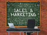 Sales and Marketing. Chalkboard with Doodle Icons. 3d.