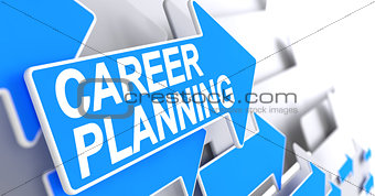 Career Planning - Text on the Blue Pointer. 3D.