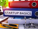 Office Folder with Inscription Startup Basics. 3d.