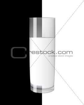 Abstract Milk Glass on Black and White Background Vector Illustration