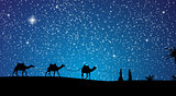 Silhouette of Caravan mit people and camels wandering through th