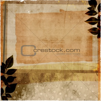 grunge backdrop with leaf border