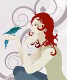 Woman and bird concept