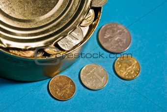 tin with coins