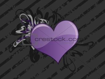 Gray Grunge Heart Background