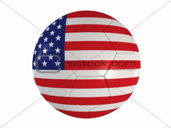 american flag on a football