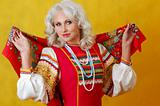 a beautifull woman in a folk russian dress
