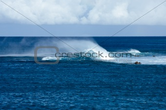 Blowing foam on Hawaiian Waves