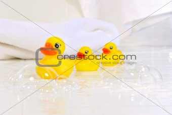 Three little rubber ducks