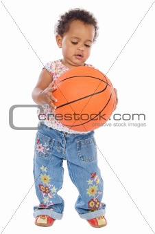 Baby whit basketball