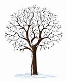 vector silhouette of winter season tree