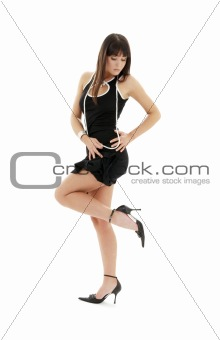 black dress brunette on high heels