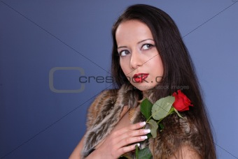beautiful woman with rose