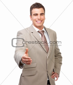 Isolated smiling business man with an open hand