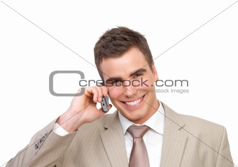 Modern business man talking on phone