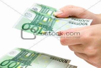 Counting 100 Euro Banknotes