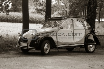 Vintage car in the countryside