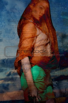 Abstract fashion portrait of veiled woman