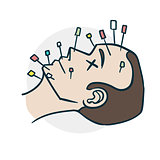 acupuncture procedure on the face comics style