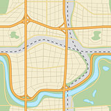 seamless city ​​map with roads and parks