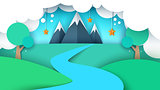 Cartoon paper landscape illustration. Mountain, star, tree, river, field.