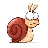 Funny, cute cartoon snail. Vector illustration.