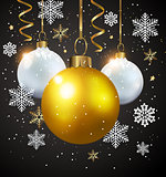 White and golden decorations on a black background.