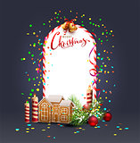 Merry Christmas template frame greeting card