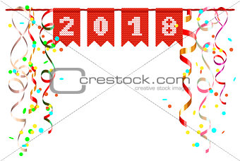 2018 new year festive scenery of confetti and serpentine