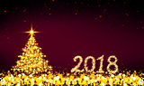 Happy New 2018 Year background and Christmas tree.