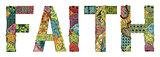 Word faith. Vector decorative zentangle object