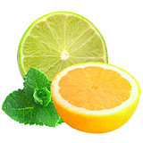 sliced lemon and lime with mint isolated on a white background