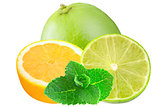 Sliced lemon and limes with mint iisolated on white background