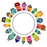 Round frame with cartoon houses