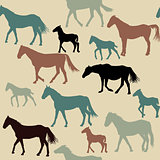 Vintage background with horses silhouettes