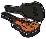 The retro electric guitar in a case