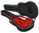 The retro red electric guitar in a case