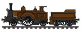 The vintage brown steam locomotive