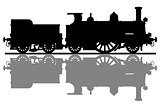 The silhouette of a vintage steam locomotive