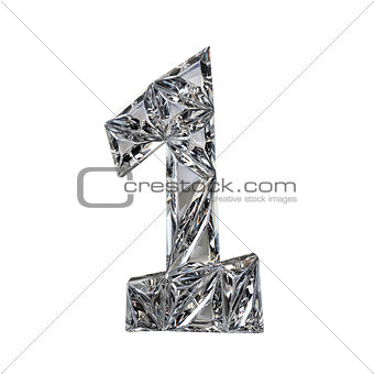 Crystal triangulated font number ONE 1 3D